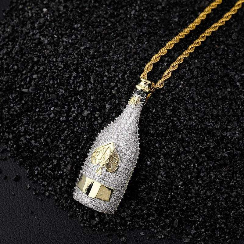 iced out champagne bottle pendant