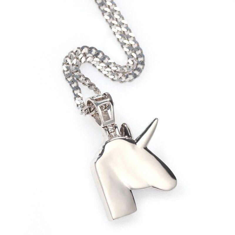 Iced Out Pendant <br> Unicorn <br> (White Gold)