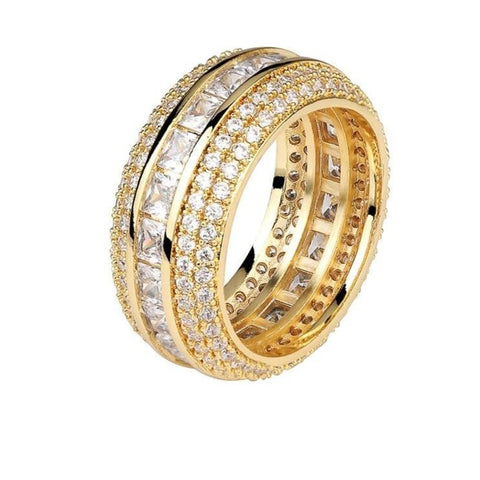 Iced Out Baguette Ring Gold