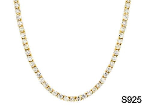 Iced Out Chain <br> S925 Tennis 4mm <br> (18K Gold)