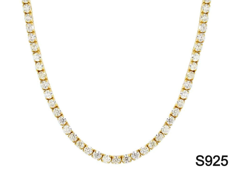 Iced Out Chain <br> S925 Tennis 5mm <br> (18K Gold)