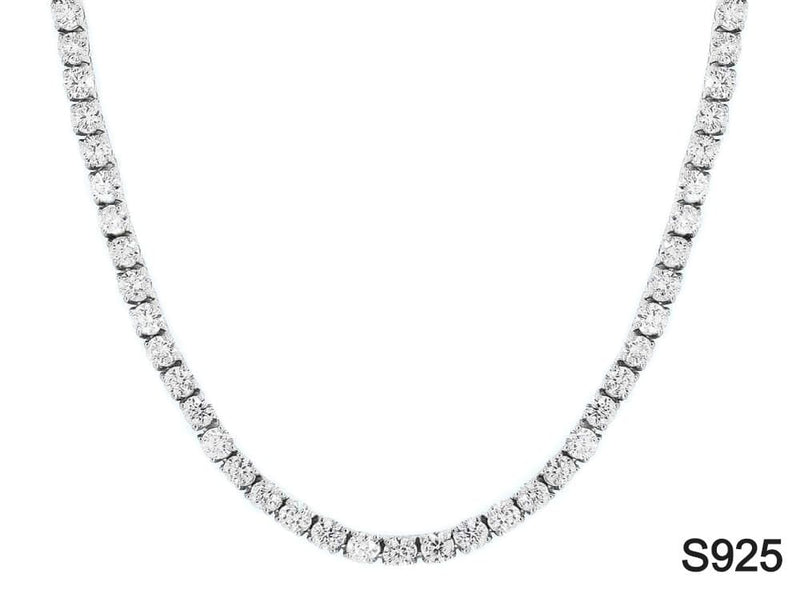 Iced Out Chain <br> S925 Tennis 4mm <br> (White Gold)