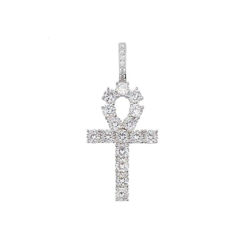 Iced Out Pendant <br> Egyptian Ankh <br> (White Gold)