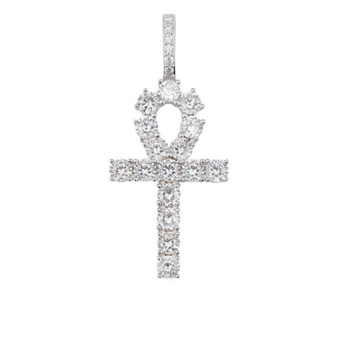 Iced Out Sterling Silver Ankh Pendant