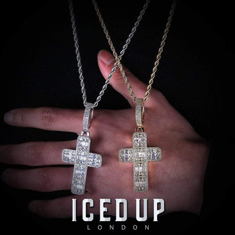 Iced Out Pendant <br> Large Baguette Cross <br> (White Gold)
