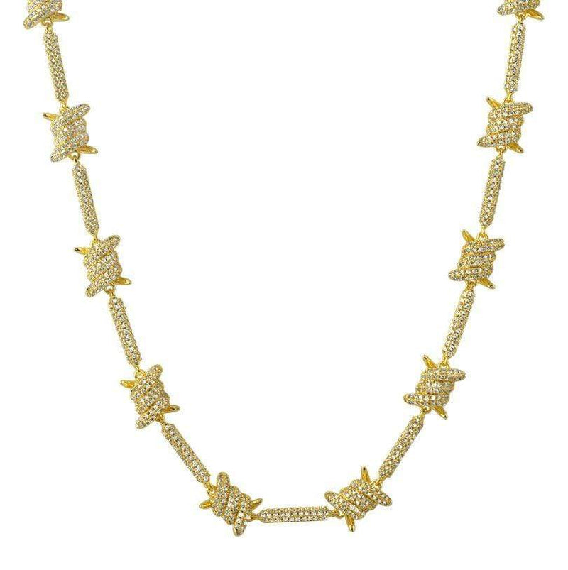 Iced Out Barbered Wire Gold Chain