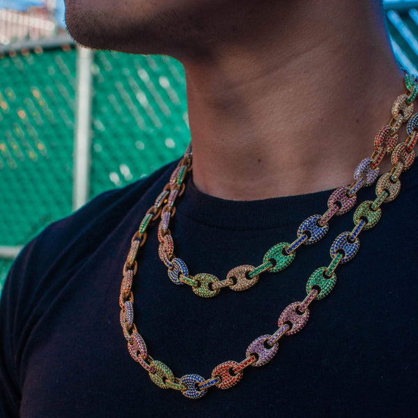 Iced out Rainbow Gucci Link Chain