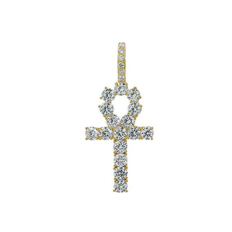 Iced Out Pendant <br> Egyptian Ankh <br> (18K Gold)