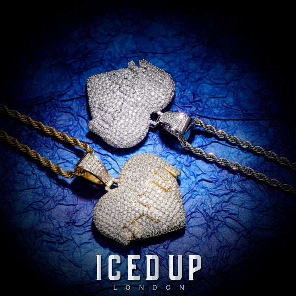 Iced Out Pendant <br> Dripping Heart <br> (White Gold)