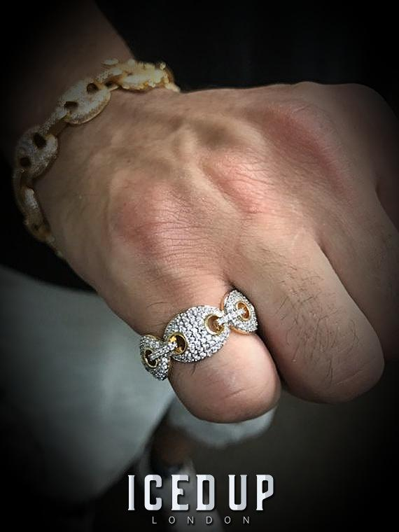 Iced Out Ring <br> Gucci Link <br> (14K Gold)