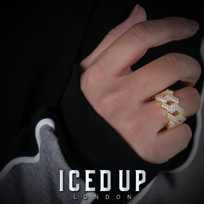 Iced Out Ring <br> Prong Cuban Link <br> (14K Gold)