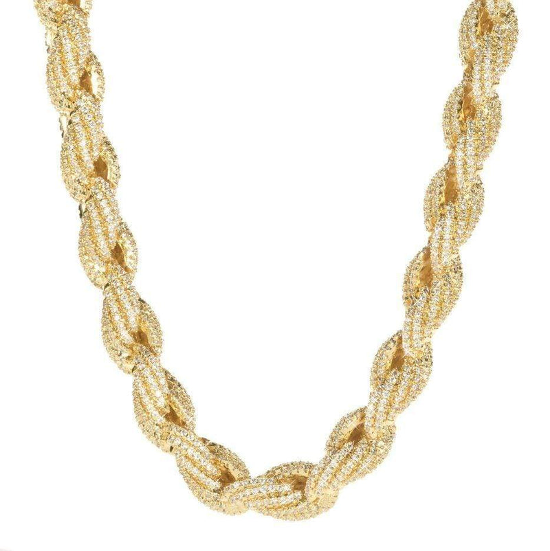 Iced Out Rope Chain Gold
