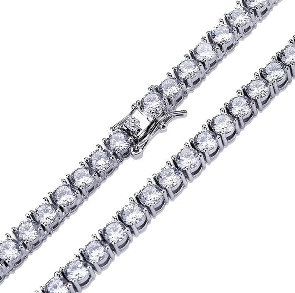 Iced Out Chain <br> Tennis 5mm <br> (White Gold)