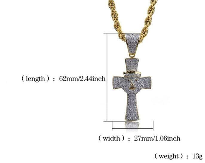 Iced Out Pendant <br> Cross Lion Head <br> (18K Gold)