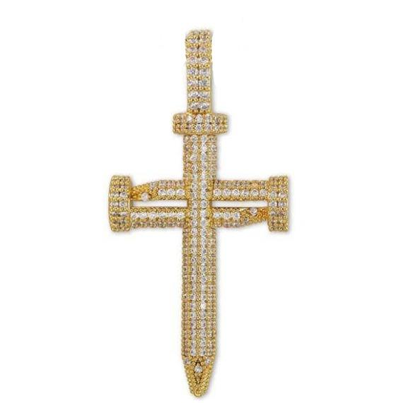 Iced Out nail cross pendant