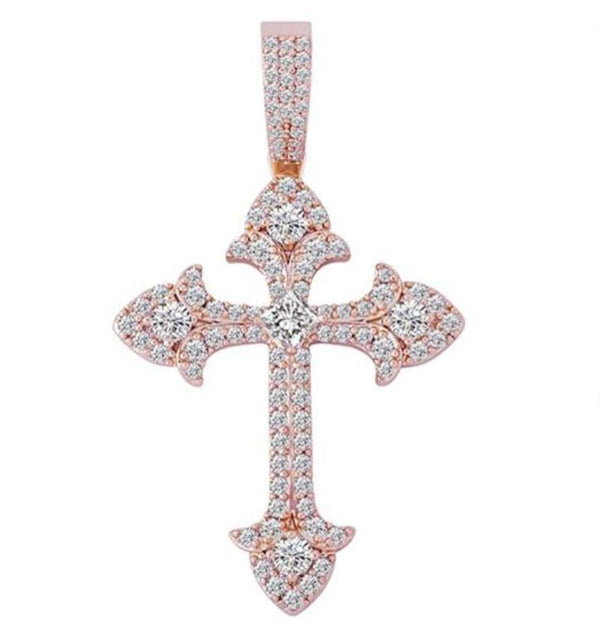 Iced Out Pendant <br> Crystal Cross <br> (Rose Gold)
