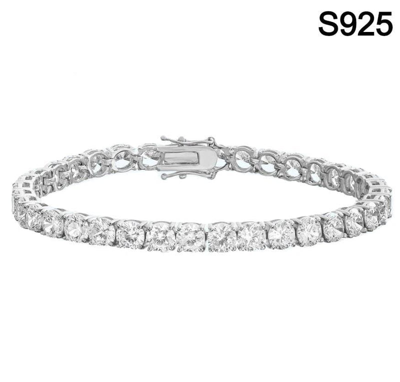 Iced Out Solid Silver Tennis Bracelet