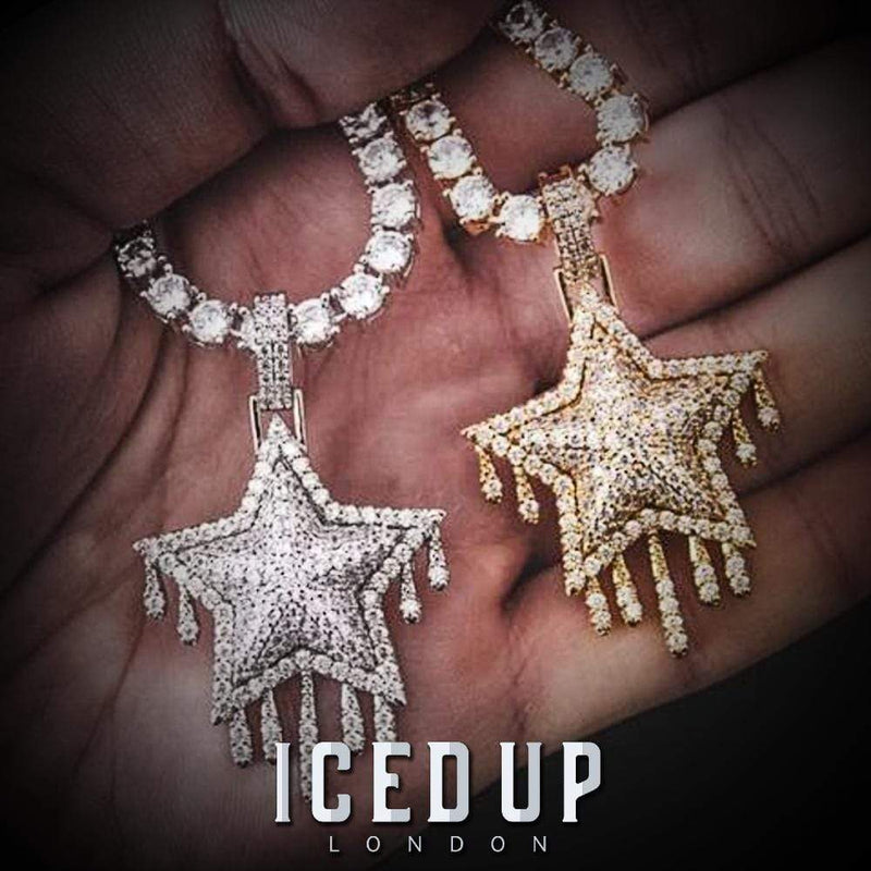 Iced Out Pendant <br> Dripping Star <br> (White Gold)