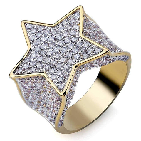 Iced Out Ring <br> Diamond Star <br> (14K Gold)