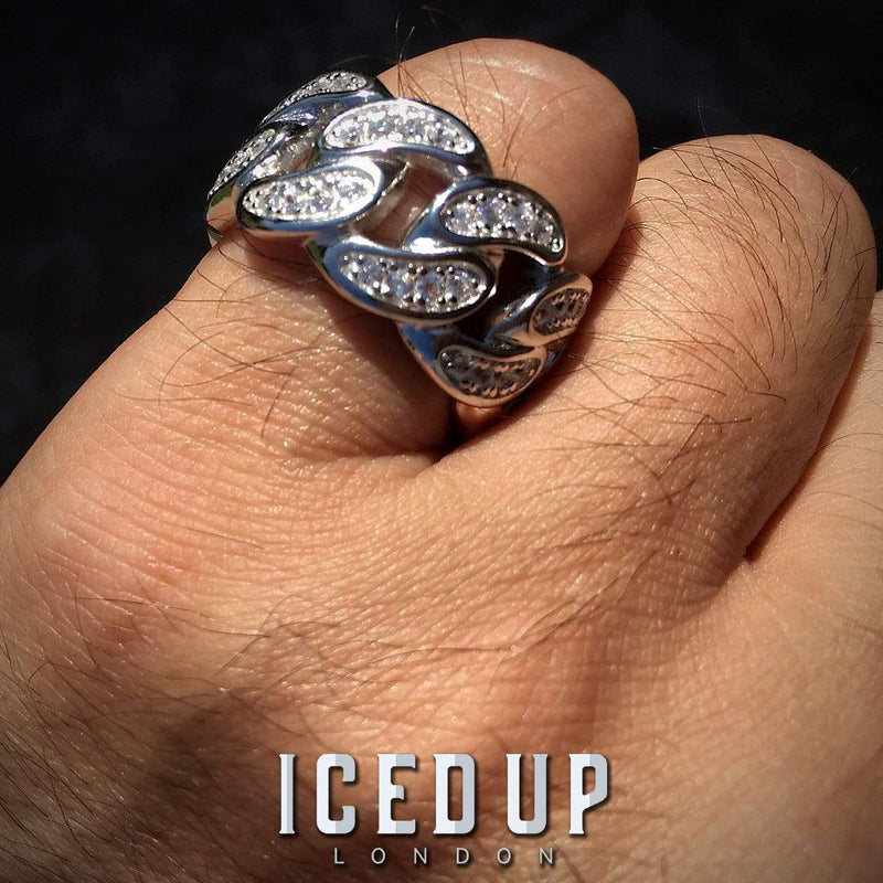 Iced Out Ring <br> Cuban Link <br> (White Gold)