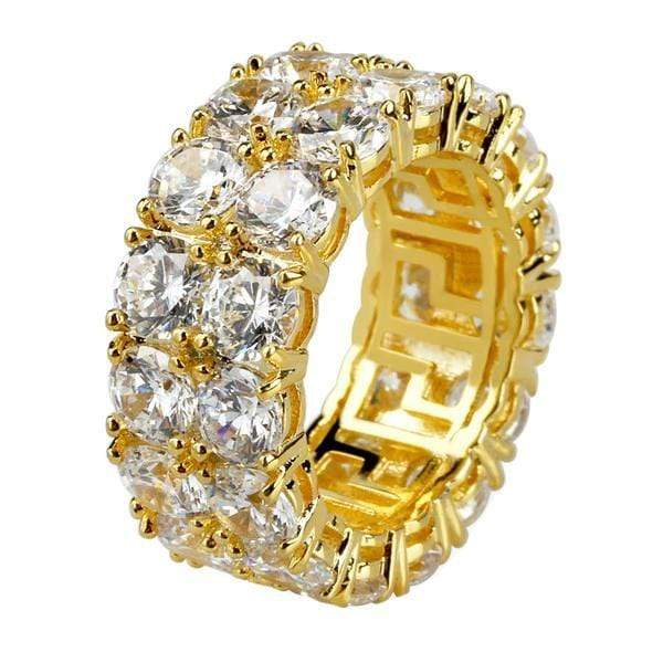 Iced Out Ring <br> 2 Row Tennis <br> (14K Gold)