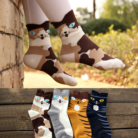 Cartoon Cat Socks (Set of 4 pairs!)