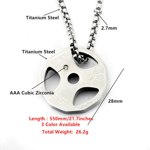 Weight Plate Pendant Necklace