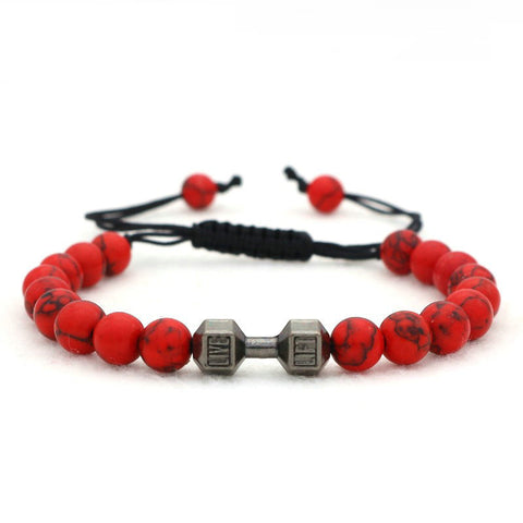 Red Stone Dumbbell Bracelet