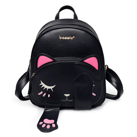 Image of Cat Pu Leather Backpack