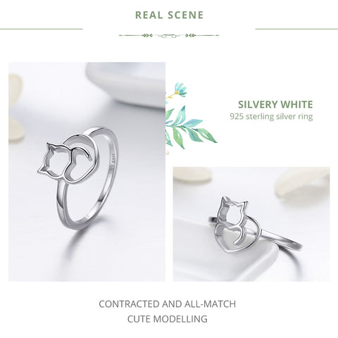 Cat & Heart Finger Ring