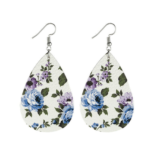 Image of Flower Leather Earrings