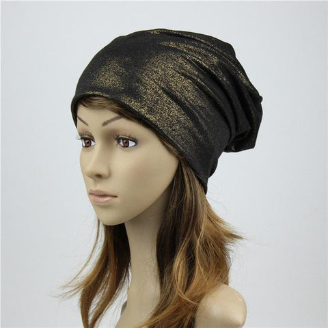 Casual Slouchy Beanie Metallic Bronzing Black - dare to wear your hair