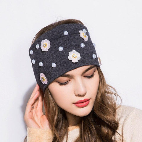 Cotton Flowers and Pearls Headband - dare to wear your hair