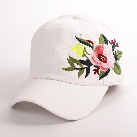 Faux Leather, Embroidered Baseball Cap - dare to wear your hair