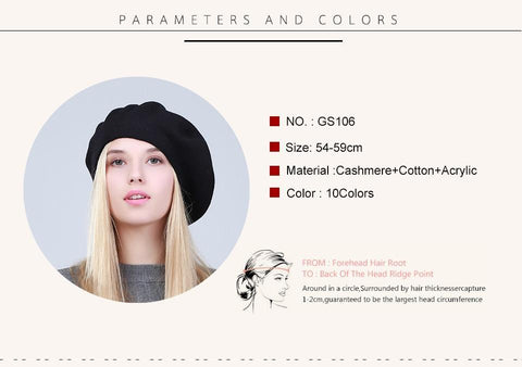 Geebro Women's French Beret Hat Spring Causal Plain Black Knit Wool Berets for Ladies Knitted Artist Beret Cap Hats For Woman - dare to wear your hair