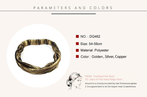 Metallic Folded Headband with Breathable Elastic - dare to wear your hair