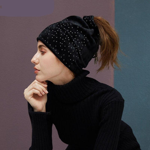 Ponytail Stretchy Beanie With Rhinestone Hats For Women Velvet Warm Beanies High Bun Cap Slouchy Skullies 2019 New High Quality - dare to wear your hair