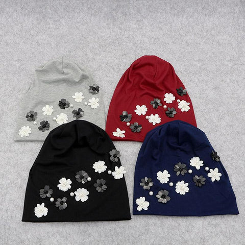 Elegant Pearly Flowery Beanies - dare to wear your hair