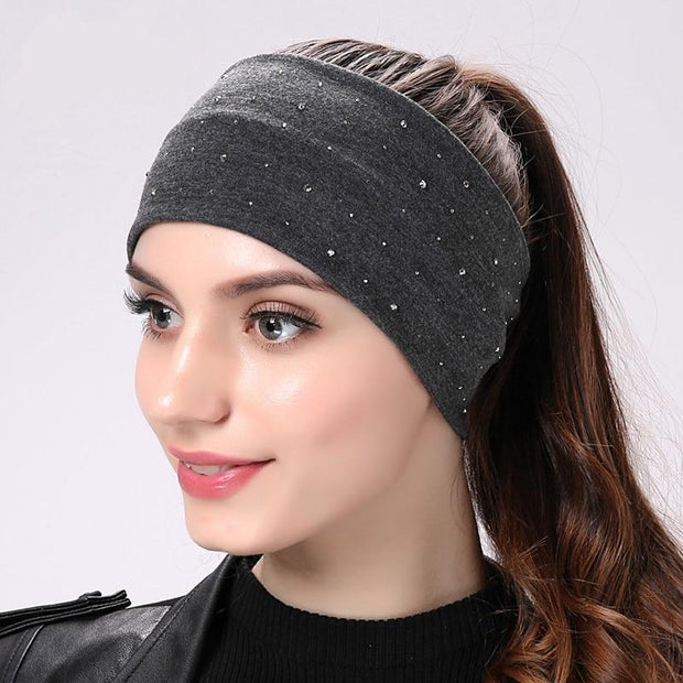 Rhinestone Wide Flat Headband - dare to wear your hair