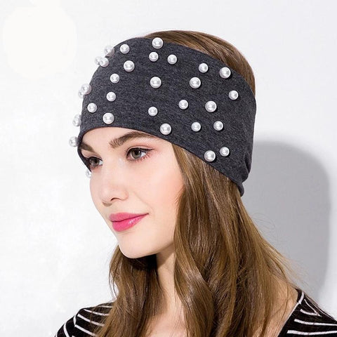 Wide Elastic Cotton Pearly Headband - dare to wear your hair