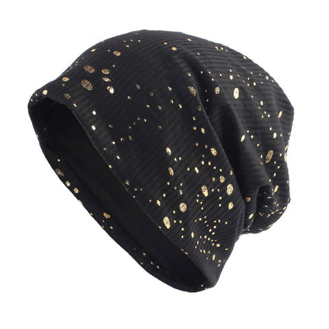 Women's Splatter Paint Metallic Beanie - dare to wear your hair