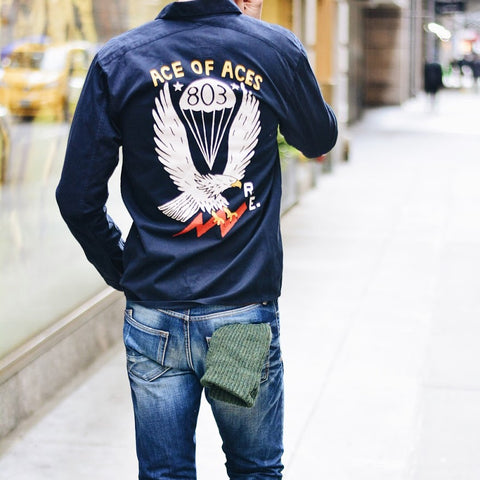 Aces Eagle Back-Print Overshirt | Realm & Empire