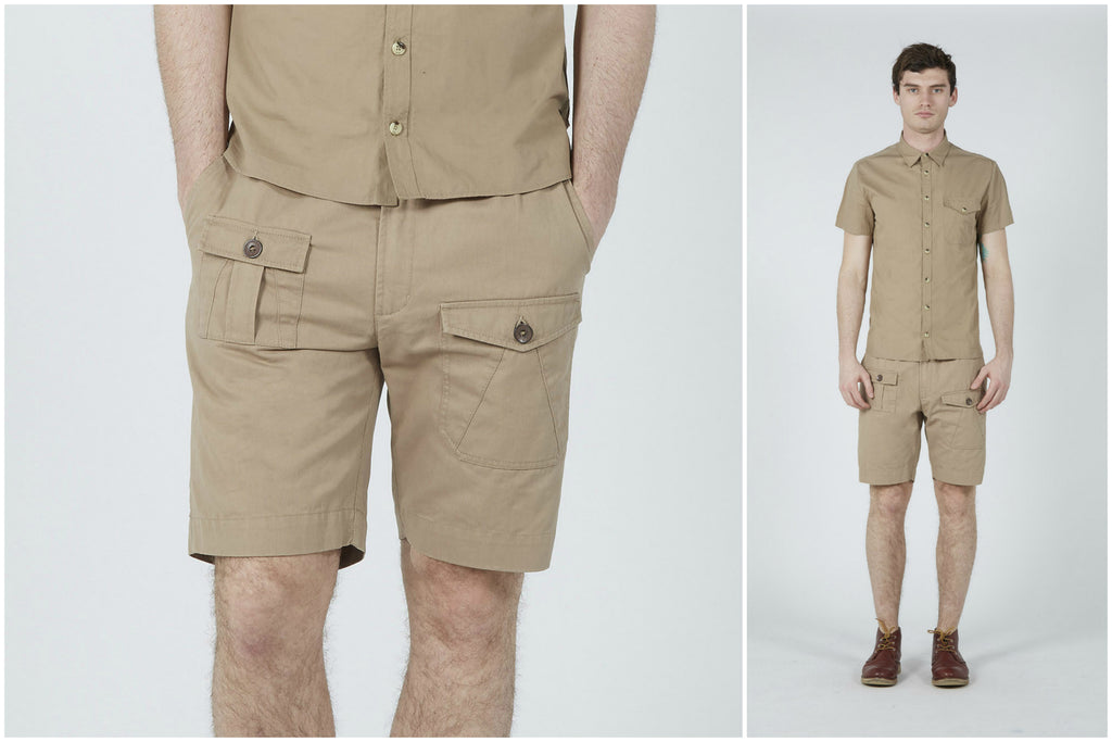 Chino Twill Combat Shorts (Stone) | Realm & Empire