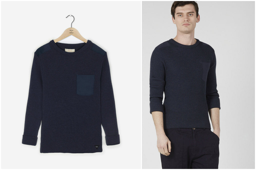 Military Crew Knit Sweater (Navy) | Realm & Empire