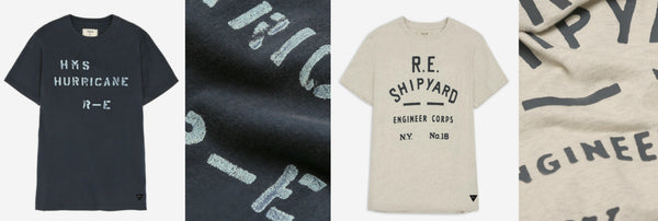Naval typography inspired tees from Realm & Empire