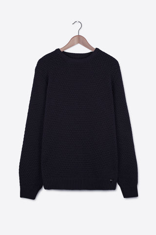 Chunky Wool Moss Stitch Jumper | Navy (RE0222)