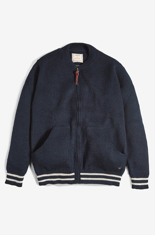 American Style Baseball Zip-Up Wool Cardigan | Made in England | Classic Cardigan | Realm & Empire