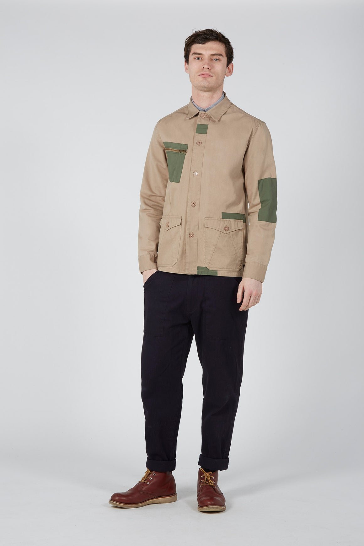 Desert Patched Overshirt | Stone/Green - issue #RE0372
