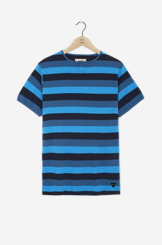 Realm & Empire Grandad Workwear Tee | Navy Stripe