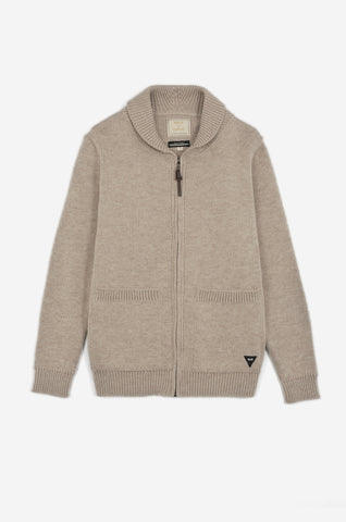 Men's Shawl Zip Cardigan (Oatmeal) | Realm & Empire